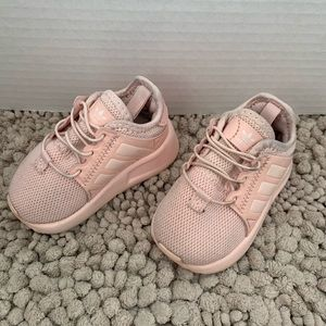 Infant pink adidas tennis shoes